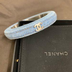 Chanel blue denim bangle bracelet